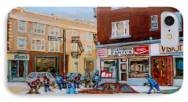 Street Hockey On Monkland Avenue Paintings Of Montreal City Scenes IPhone Case by Carole Spandau