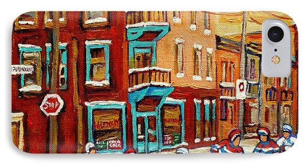 Street Hockey Practice Wilensky's Diner Montreal Winter Street Scenes Paintings Carole Spandau Phone Case by Carole Spandau