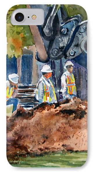 IPhone Case featuring the painting Street Improvements 2 by Ron Stephens
