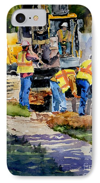 IPhone Case featuring the painting Street Improvements by Ron Stephens