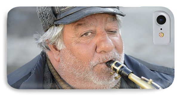 Street Musician - The Gypsy Saxophonist 1 IPhone Case by Teo SITCHET-KANDA