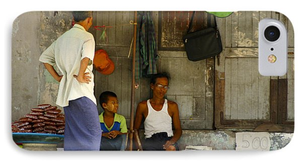 Street Seller Sitting In The Shade Under An Umbrella Yangon Myanmar Phone Case by Ralph A  Ledergerber-Photography