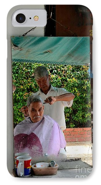 Street Side Barber Cuts Client Hair Singapore Phone Case by Imran Ahmed
