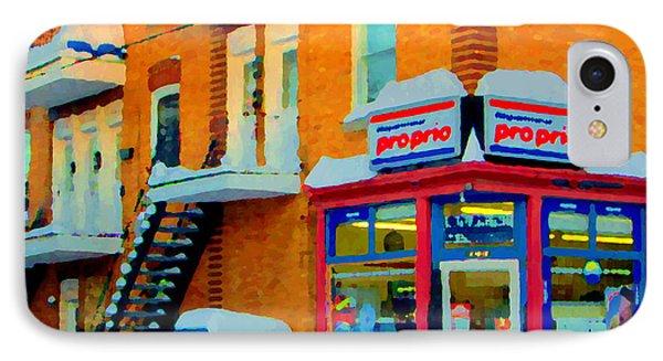 Streets Of Verdun Corner Depanneur Proprio Staircases In Winter Montreal City Scene Carole Spandau Phone Case by Carole Spandau