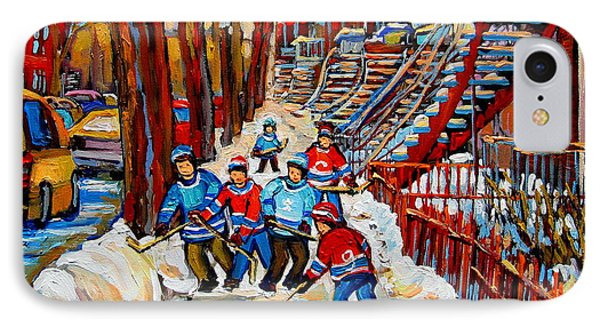 Streets Of Verdun Hockey Art Montreal Street Scene With Outdoor Winding Staircases IPhone Case by Carole Spandau