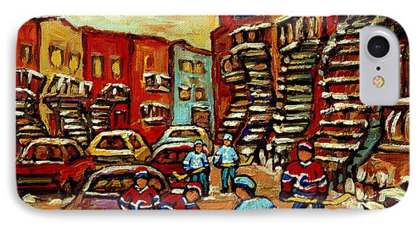 Streets Of Verdun Paintings He Shoots He Scores Our Hockey Town Forever Montreal City Scenes  IPhone Case by Carole Spandau