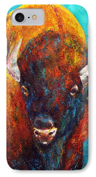 IPhone Case featuring the painting Strength Of The Bison Facial by Jennifer Godshalk