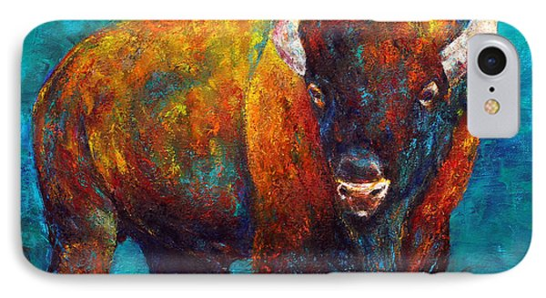 IPhone Case featuring the painting Strength Of The Bison by Jennifer Godshalk