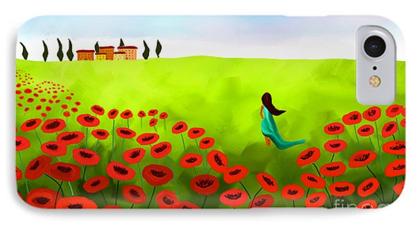 Strolling Among The Red Poppies IPhone Case by Anita Lewis