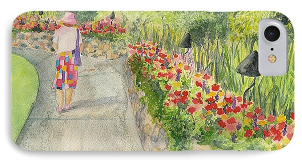 IPhone Case featuring the painting Strolling Butchart Gardens by Vicki  Housel