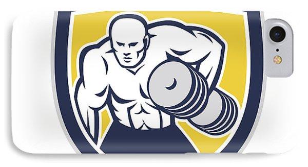 Strongman Lifting Dumbbells Front Shield Retro Phone Case by Aloysius Patrimonio