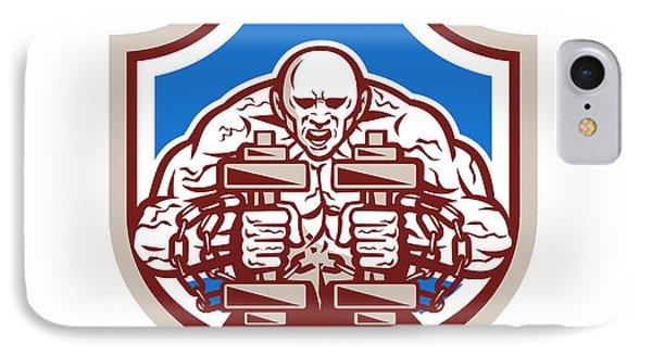 Strongman Lifting Dumbbells Shield Retro Phone Case by Aloysius Patrimonio