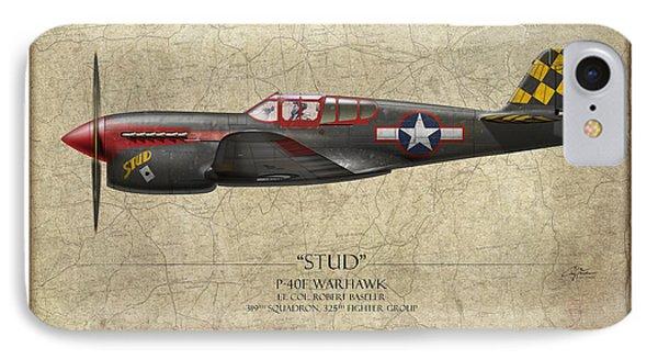 Stud P-40 Warhawk - Map Background Phone Case by Craig Tinder