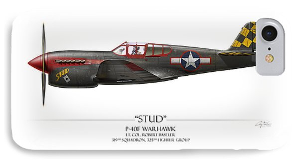 Stud P-40 Warhawk - White Background Phone Case by Craig Tinder