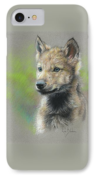 Study - Baby Wolf IPhone Case by Lucie Bilodeau