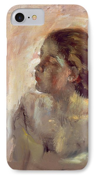 Study Of A Girls Head, Late 1870s IPhone Case by Edgar Degas