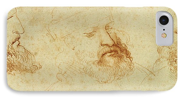 Study Of A Male Head IPhone Case by Leonardo Da Vinci