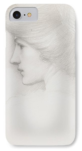 Study Of A Woman's Head Profile To Left Phone Case by Sir Edward Coley Burne-Jones