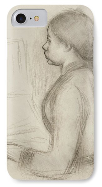Study Of A Young Girl At The Piano IPhone Case by Pierre Auguste Renoir