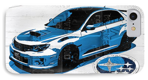 Subaru Impreza Wrx Recycled License Plate Art On White Barn Door IPhone Case