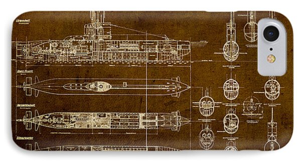 Submarine Blueprint Vintage On Distressed Worn Parchment IPhone Case by Design Turnpike