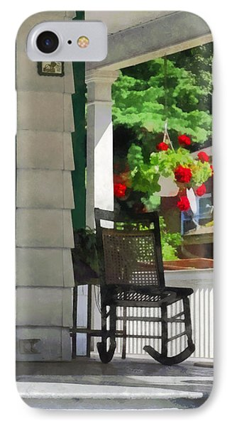 Suburbs - Porch With Rocking Chair And Geraniums Phone Case by Susan Savad