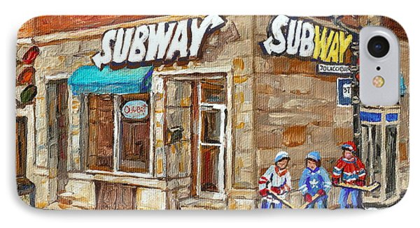 Subway Restaurant Monk Avenue Verdun Montreal Art Winter Hockey Scenes Paintings Carole Spandau IPhone Case by Carole Spandau