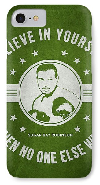 Sugar Ray Robinson - Green IPhone Case by Aged Pixel