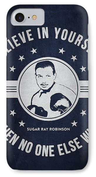 Sugar Ray Robinson - Navy Blue IPhone Case by Aged Pixel