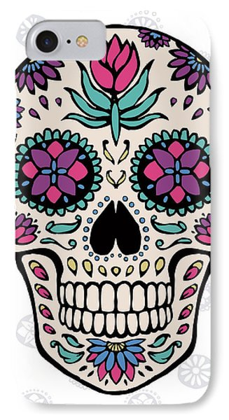 Sugar Skull Iv On Gray IPhone Case by Janelle Penner