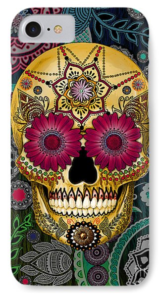 Sugar Skull Paisley Garden - Copyrighted IPhone Case