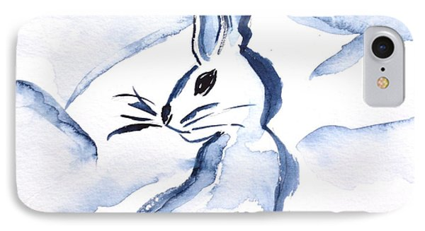 Sumi-e Snow Bunny IPhone Case by Beverley Harper Tinsley