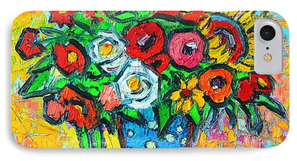 Summer Floral Bouquet - Sunflowers Poppies And Roses Phone Case by Ana Maria Edulescu