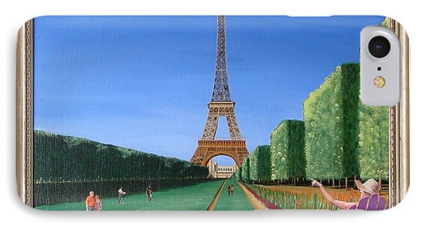 IPhone Case featuring the painting Summer In Paris by Ron Davidson