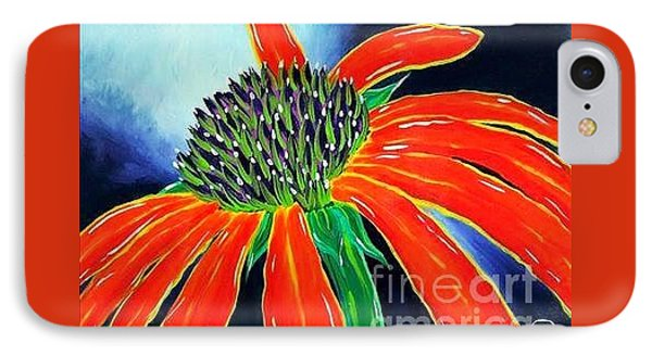 IPhone Case featuring the painting Summer Kissed Cone Flower by Jackie Carpenter