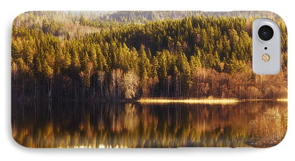 Summer Landscape Mirrored In Inland Lake IPhone Case by Christian Lagereek