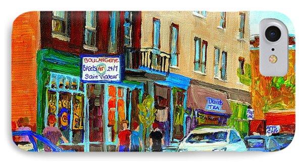 Summer On Saint Viateur Street Strolling By The Bagel Shop And David's Tea Room  Montreal City Scene Phone Case by Carole Spandau
