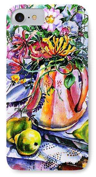Irish Summer  Wild Flowers - Dog Roses-buttercups-honeysuckle -purple Vetch  IPhone Case by Trudi Doyle