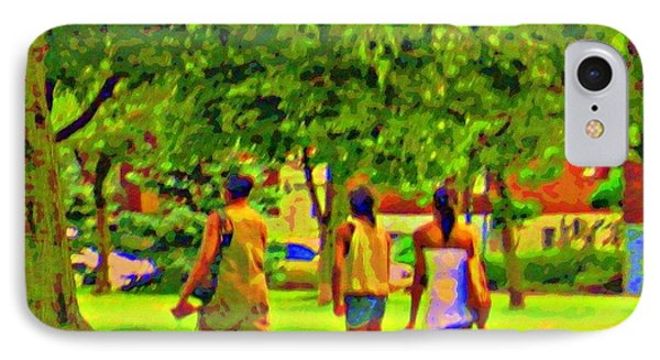 Summertime Walk Through The Beautiful Tree Lined Park Montreal Street Scene Art By Carole Spandau Phone Case by Carole Spandau