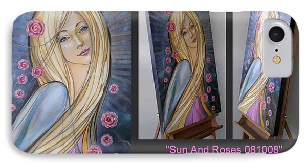 IPhone Case featuring the painting Sun And Roses 081008 Comp by Selena Boron
