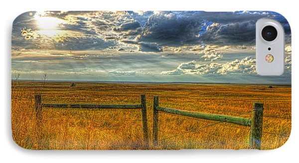 Sun Burst Over The Plains IPhone Case by Jim Boardman