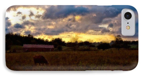 Sun Down On The Farm IPhone Case by Ken Frischkorn