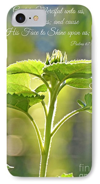 Sun Drenched Sunflower With Bible Verse Phone Case by Debbie Portwood