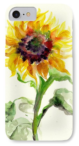 Sunflower Watercolor IPhone Case by Tiberiu Soos