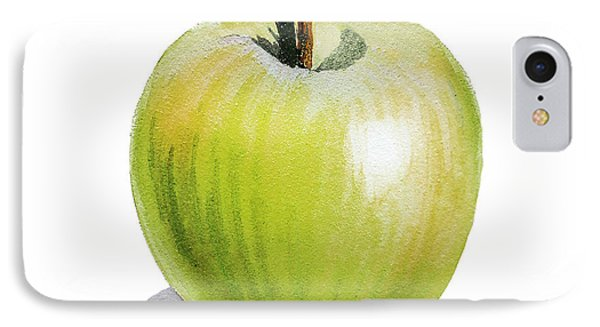 IPhone 7 Case featuring the painting Sun Kissed Green Apple by Irina Sztukowski