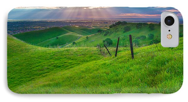 Sun Rays And Green Hillside IPhone Case by Marc Crumpler