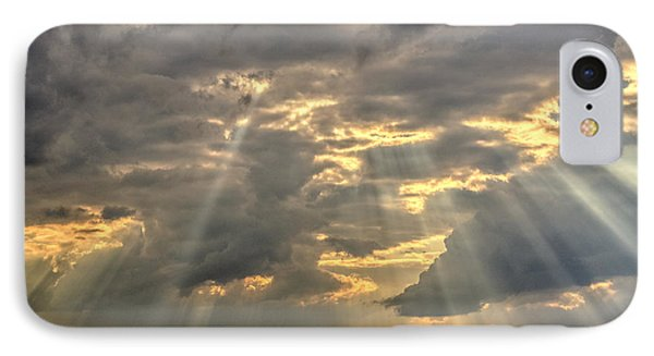 Sun Rays Over A Field IPhone Case by Julis Simo