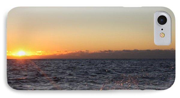 Sun Rising Through Clouds In Rough Waters Phone Case by John Telfer