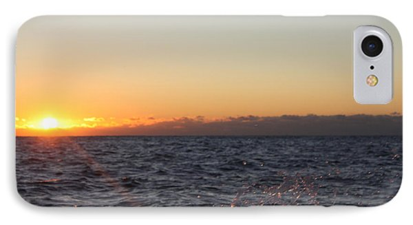 Sun Rising Through Clouds In Rough Waters IPhone Case