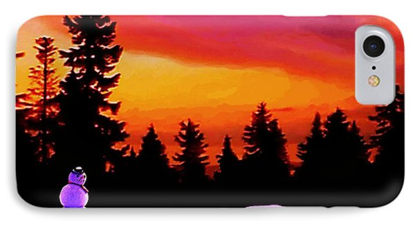 IPhone Case featuring the painting Sun Setting On Snow by Sophia Schmierer
